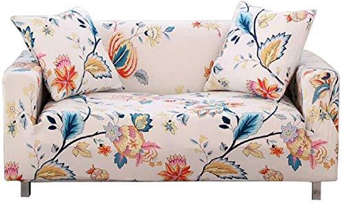 Chozan - Funda de sofá elástica estampada con 2 fundas de almohada para cojín de 3 asientos, sofá, muebles de mascotas, funda de licra, disponible en forma de L (flores, sofá-3 plazas)