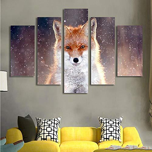 MhY Moderne Drucke Wandkunst 5 Panel Tier Fuchs Bild Home Decoration Modulare Poster Wohnzimmer HD Gedruckt Leinwand Painting 20x30cm-2p 20x40cm-2p 20x50cm-1p No Frame