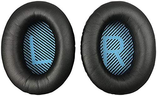 Replacement Earpads Ear Cushions Compatible with Bose QuietComfort 15 QC15 QC25 QC2 QC35 Ae2 Ae2i Ae2w SoundTrue/SoundLink Headphones (Black Cushion&Blue Scrim)
