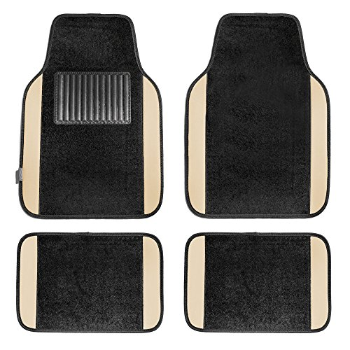 FH Group F14407BEIGE Premium Full Set Carpet Floor Mat (Sedan and SUV with Driver Heel Pad Beige)
