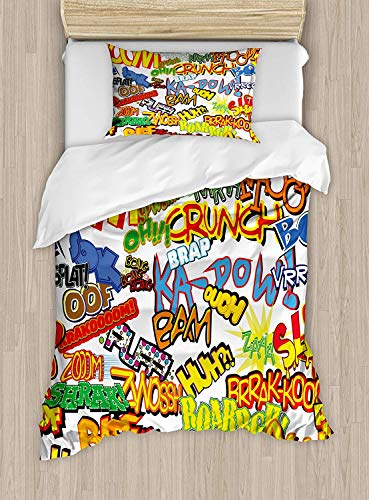 SINOVAL Superhero Duvet Cover Set Twin Size, Retro Comic Book Expressions Humor Icons Cartoon Scream Crash Pow Vintage Design,Fashion 2 Piece Bedding Set with 1 Pillow Sham, Multicolor