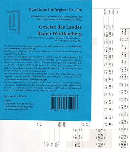 BADEN-WÜRTTEMBERG Landesgesetze/Dürig/Dürckheim-Griffregister Nr. 1026/2017, Die Neuauflage 2018 hat die ISBN 9783864532030