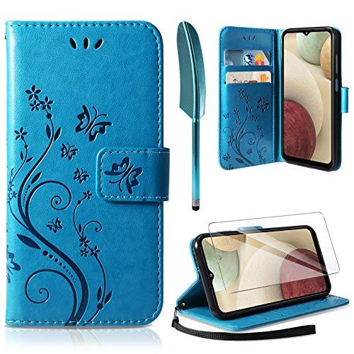 AROYI Funda Compatible con Samsung Galaxy A12/M12 y Protector de Pantalla, Relieve Dibujo Carcasa de Tipo Libro Soporte Plegable Ranuras para Tarjetas Magnético Ultra Delgado Carcasa Case, Azul