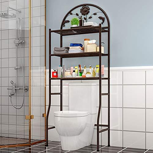 Yangyang Waschmaschinenregal Toilettenregale Waschmaschine Regal stabiles Badregal Badezimmerregal Bad WC Regal mit 3 Ablageböden weiß 62cm × 32cm ×180cm,Schwarz