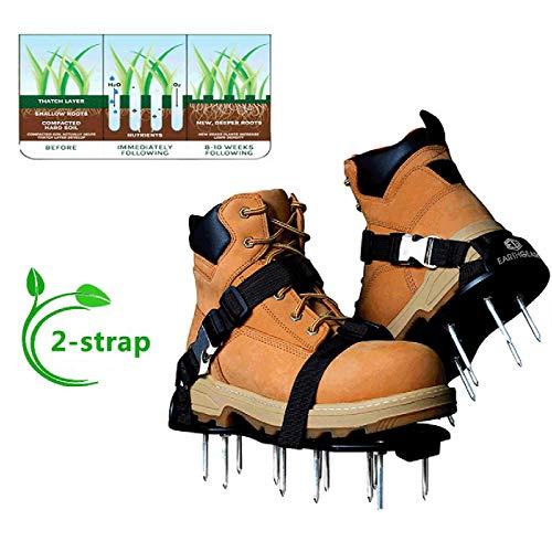 AYUSHOP Chaussures d'aération de pelouse avec Pointes pour l'aération de pelouse, de Jardin, de Sol, d'herbe – Taille Universelle, Herbe Pointes cultivateur d'ongle Cour Jardin Outil