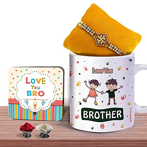 Jhingalala Rakshabandhan Gift for Brother | Swastika Pendant Designed Rakhi, Love You Brother Printed Mug, Love You Bro Greeting...
