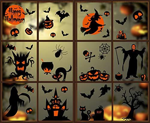 heekpek Halloween Fenster Aufkleber Hexe Geister Kürbis Wandaufkleber Fenster Sticker für Halloween Party Dekorationen