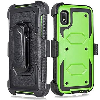 Galaxy A10e Case Built-in [Screen Protector] Heavy Duty Full-Body Rugged Holster Armor Case [Belt Swivel Clip][Kickstand] Samsung Galaxy A10e 5.8inch  Green