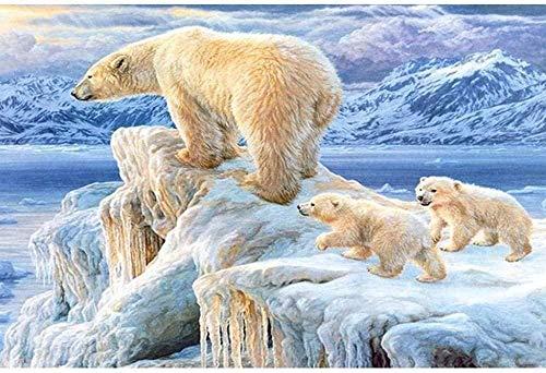 Kits de Bordado de Punto de Cruz Estampado Oso Polar Caminando 11CT Gama Completa de Kit de Inicio de Bordado DIY Niños Adultos Decoración De la Familia Regalo 40x50cm