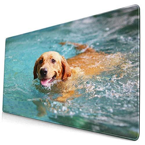 Groß Gaming Mauspad-75 x 40cm,Labrador Retriever, Happy Dog Schwimmen, Hund lächelnd,Rutschfeste Gummibasis Tastaturmatte mit Genähten Kanten für Laptop Computer Schreibtischunterlage