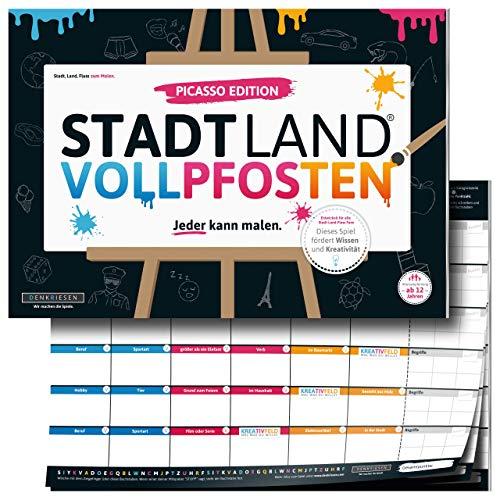DENKRIESEN - Stadt Land VOLLPFOSTEN® - Picasso Edition - 'Mal Stadt Land FLUSS ZUM MALEN' | Familienspiel Spielblock | Partyspiel