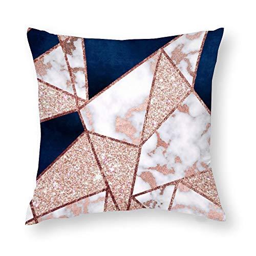 Luxurious Rose Gold Glitter Geometric Marble Cotton Linen Blend Throw Pillow Covers Case Cushion Pillowcase with Hidden Zipper Closure for Sofa Bench Bed Home Decor 18'x18'