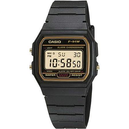 CASIO Mens Digital Watch with Resin Strap F-91WG-9QER , Black