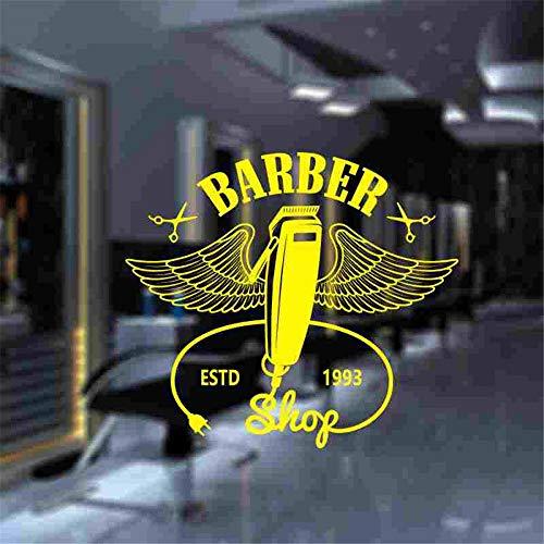 Crjzty Mann Friseur Aufkleber Maßgeschneiderte Chop Brot Aufkleber Haarschnitt Rasierer Poster Vinyl Wandkunst Aufkleber Decor Windows Dekoration Gelb 90x100 cm