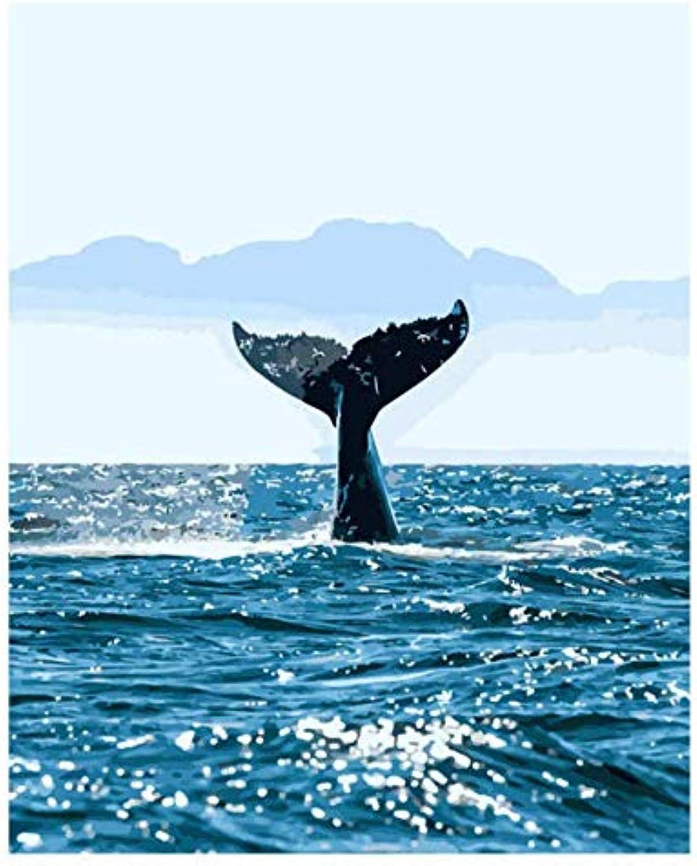 UPUPUPUP Meerwal lfarbe Malen nach Zahlen DIY Bild Zeichnung Frbung Auf Leinwand Malen Von Hand Wand Malen Nach Zahlen Tier, Tworidc5-50X70Cm Gerahmt