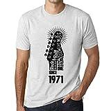 Hombre Camiseta Vintage T-Shirt Gráfico Live Fast Never Die Since 1971 Cumpleaños de 50 años Blanco Moteado