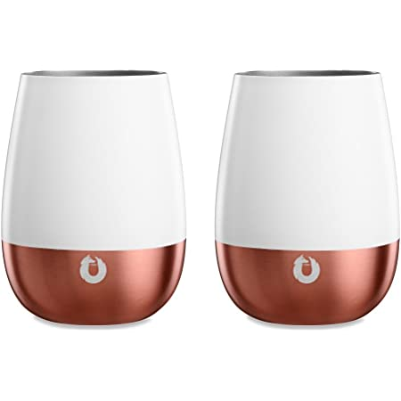 SNOWFOX Insulated Stainless Steel Wine Glasses, Pinot Noir, Set of 2, White/Gold