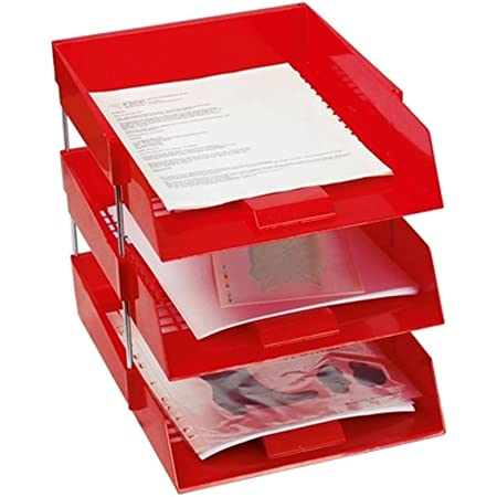 3 x Red in//Out Letter Filing Trays with Risers 8 Nos