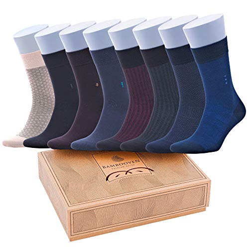 Bambooven Men's 8 Pairs Premium Bamboo Lightweight Dress and Trouser Socks