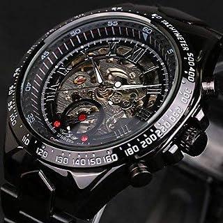 Men'S Watches, Winner&Reg; Men'S Skeleton Automatic Self-Winding Watch Waterproof Black Stainless Steel Band Wrist Watch Cool Watch Tachymeter Watch