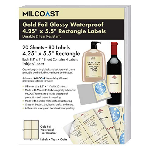 """Milcoast Gold Foil Glossy Waterproof Tear Resistant Adhesive 4.25"""" x 5.5"""" Rectangular Labels for Inkjet/Laser Printers - 80 Labels (20 Sheets)"""