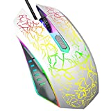 VersionTECH. Gaming Mouse, Ergonomic Wired Gaming Mice 4 Level DPI 800/1200/1600/2400, 7 Colors RGB LED Breathing Light for Laptop PC Notebook Computer Games & Work -White 141[並行輸入]