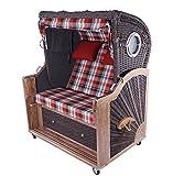 Polyrattan Strandkorb Kampen Spezial Old Style 2,5-Sitzer Mocca Bullauge Teak Teakholz