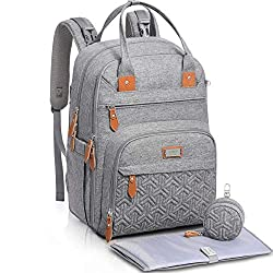 MULTIPURPOSE MODERN CHANGING BACKPACK: Designed to look stylish and functional. Includes built-in stroller clips, padded changing mat, plenty of pockets, a grab handle, and a detachable pacifier holder. It is a baby bag that you will love enough to u...