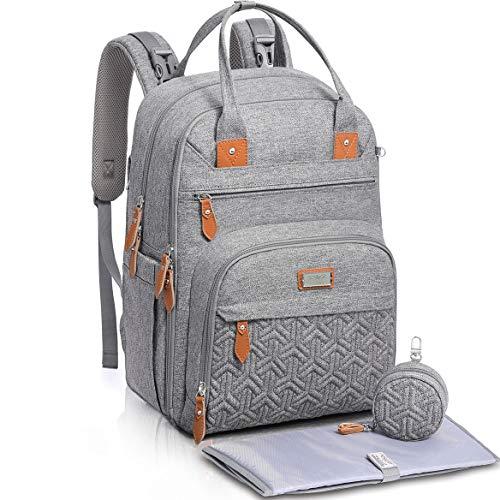 Baby Wickeltasche/Rucksack, Unisex Wickelrucksack Babytasche mit Wickelauflage, Isoliertaschen & Schnullerhalter, WELAVILA - Große Multifunktions-Reiserucksack für Mama & Papa, grau