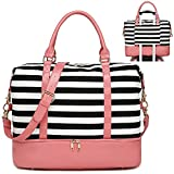 Womens Travel Weekend Bag Canvas Overnight Carry on Weekender Duffel Beach Tote Bag (Pink Leather Black Stripe with Shoe Compartment)