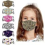 COMMINY 6PCs Kids Cartoon Face Bandanas Reusable Breathable Protection for Children (Leopard/Star 6Pcs)