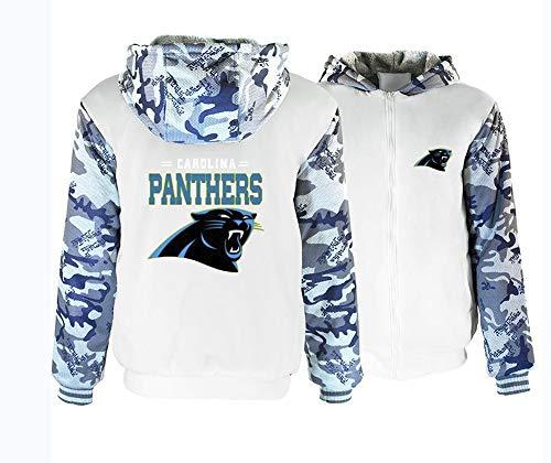 XSJY NFL - Sudadera con capucha y cremallera para hombre, manga larga, con capucha, para invierno, cálida, gruesa, de la marca Carolina Panthers, Blanco, X-Large