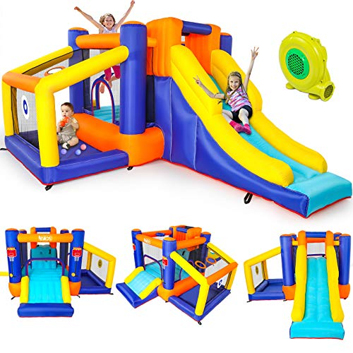 Naice Inflatable Bounce House, Indoors Outdoor Inflatable Bouncers, Slide Bouncer, Jumper Bounce...