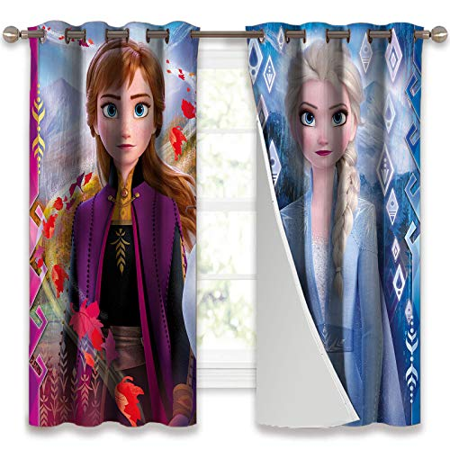 SSKJTC Light Blocking Curtains Frozen 2 Elsa and Anna Curtain Panel Pair with Grommet Top W55 x L63