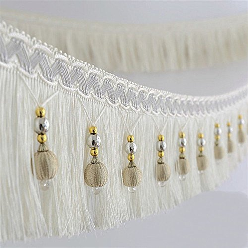 2yard Briaded Beads Hanging Ball Tassel Fringe Trimming Applique Fabric Trimming Ribbon Band Curtain Table Wedding Decorated T2582a (White)