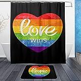 LNXR Get Naked Wasserdichter Duschvorhang & Matten für Badezimmer 60x72 Retro Gay Pride Rainbow Love LGBT