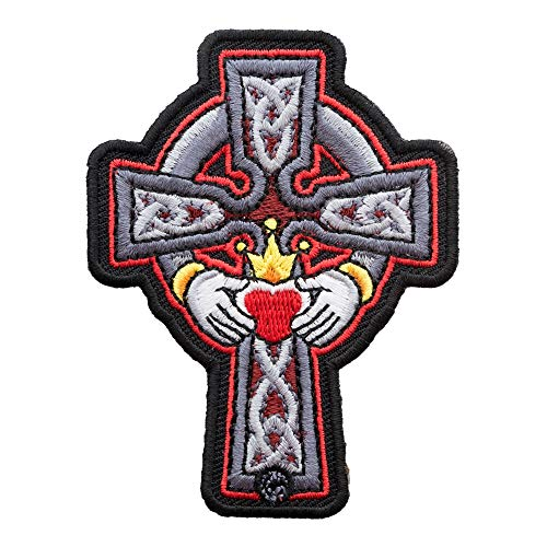 PatchStop Celtic Cross Claddagh Red Iron On Patches for Clothing Jeans - 2.5x3.25in Small DIY Sew On Patch for Jackets Bags - Embroidered Religious Cross Decorative Patches