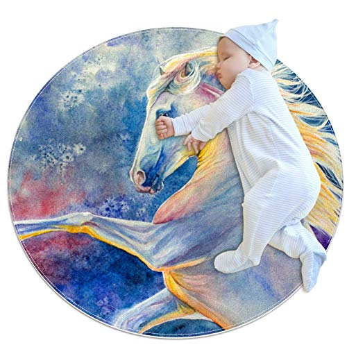 Lowest Price! Horse Rearing Up Against Color Background Baby Game Blanket, Baby Round Circular Kid G...