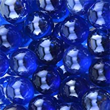 Greenbrier Round Glass Floral Marbles for Vase Accents and Crafting (2 Bags, Dark Blue)