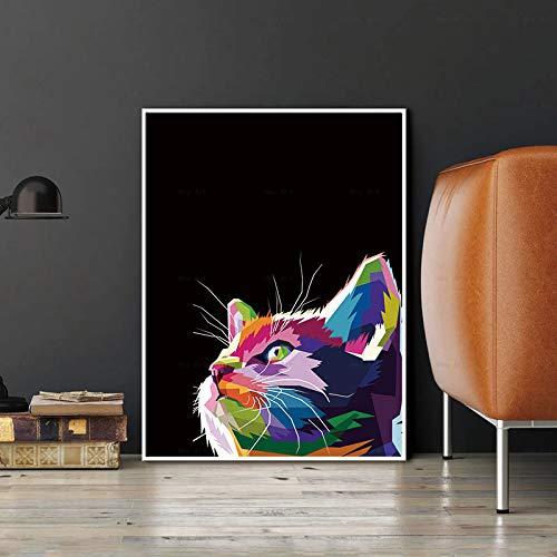 ganlanshu Buntes Hirschhahn-Hundekatzenplakat-Wandkunsttier des nordischen Stils für Hauptdekoration des Wohnzimmers,Rahmenlose Malerei-60X80cm