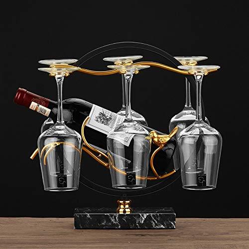 DYOYO Portavasos de Vino Rojo con Soporte de Botella en Hierro,Vaso de Vino a la Suspendida Estilo Europeo Botellero en Hierro pie Ideal para Frigorífico, Despensa o Armarios de Cocina