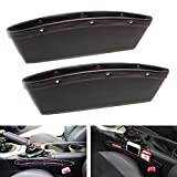 iJDMTOY (2 Black Leather Car Side Pocket Organizers, Car Seat Catchers Compatible with Key, Wallet, Cell Phone, Sunglasses, etc
