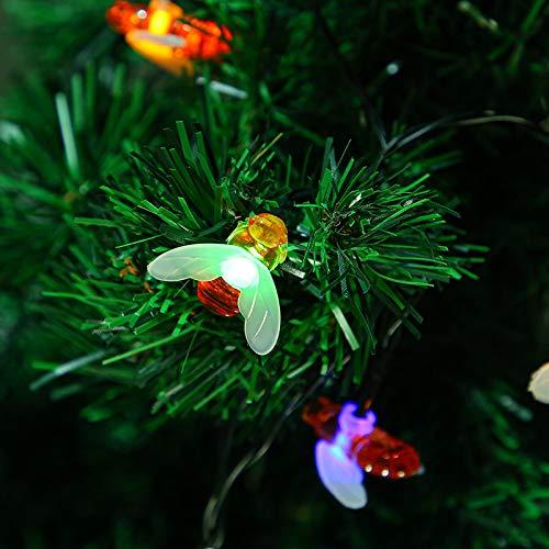 Luces De Cadena De Abejas Solares Luces De Decoración Al Aire Libre A Prueba De Agua Luces De Decoración De Navidad 【Energía solar】 【6.5m 30 luces】 Zhengbai