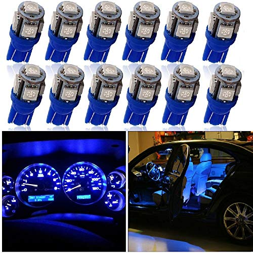 Auto Lampen - SUNWAN T10 5050 12 stks 29mm 5 LED 12 V Auto Interieur Lampen Dashboard Festoon Dome Lampen Lezen Zijzijde Licht License Plaat Deurlampen Blauw