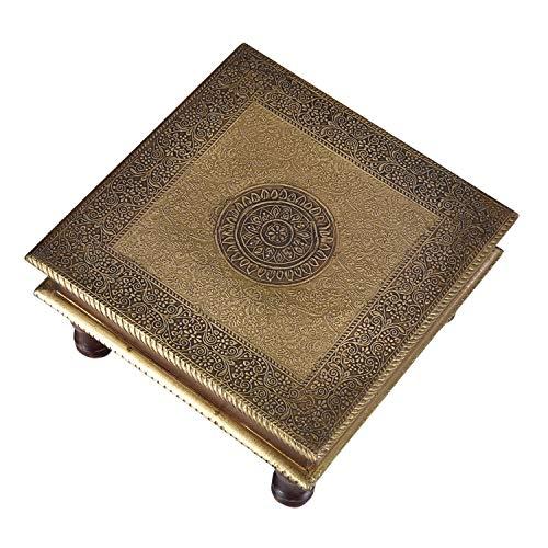 Casa Moro Orientalischer Hocker Beistelltisch Aroon L aus Holz mit feinen Messingintarsien | 30x30x15 (BxTxH) | Kunsthandwerk aus dem Orient | MA25-70