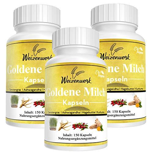 2+1 Gratis - Weizenwerk - Goldene Milch Kapseln - Golden Milk - Kurkuma Latte - mit Kurkuma, Gerstengras, Ashwagandha und Hagebutte – Monatspackung 150 vegane Kapseln (3)