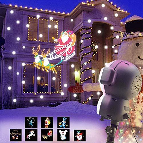 UKEER Projecteur Noel LED exterieur, Musique + Neige+8 Animés Projecteur de Chute de Neige avec éclairage de Jardin Décoratif à Télécommande, fête de noël Intérieur et Extérieur