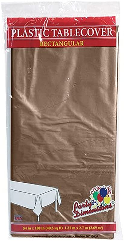 Plastic Party Tablecloths Disposable Rectangular Tablecovers 4 Pack Chestnut By Party Dimensions