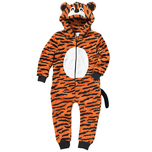 Onesies Animal Crazy Boys Tiger Supersoft Fleece Jumpsuit Playsuit UK Seller - Orange Stripe - 3/4 Years