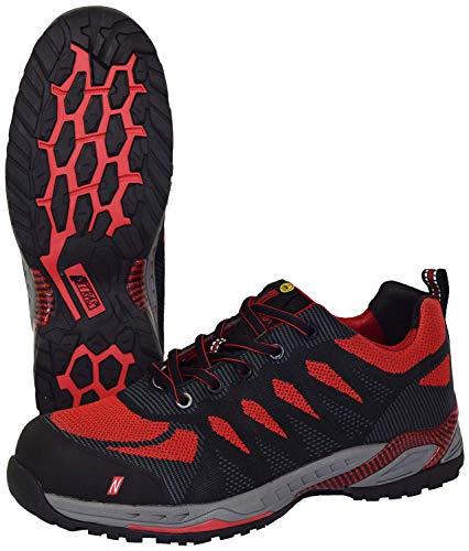 Nitras 7410 ESD Arbeitsschuhe S1P SRC Sportlicher Sicherheitsschuhe mit Zehenkappe Metallfrei & Durchtrittssicher Antistatisch und Ableitfähige Schuhe Größe: 44, Schwarz/Rot